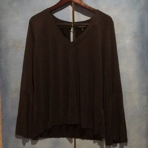 NWOT V-Neck Lucky Brand Blouse with Bell Sleeves